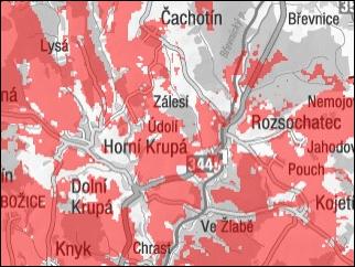 Mapa pokrytí sítí EDGE - Vodafone